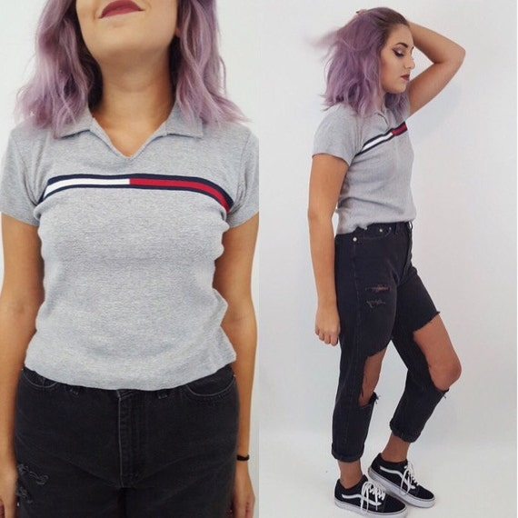 90's Tommy Hilfiger LOGO Polo Tee - 1990s Small Medium Womens Tommy Jeans Tshirt - Gray Tommy Hilfiger Shirt - Collared Short Sleeve Tee