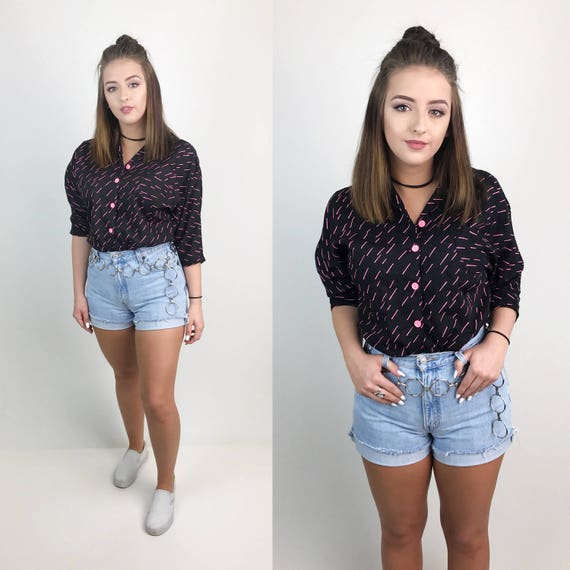 80's Hot Pink Black All Over Print Button Up Medium - Soft Cotton Casual Button Front Pocket Blouse - Black & Pink Sprinkle Printed Top