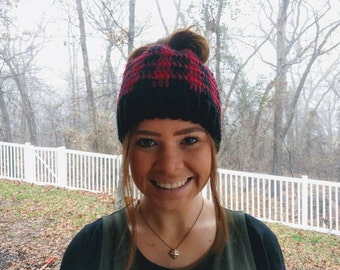 Messy Bun Hat - Ponytail Hat - Messy Bun Beanie - Plaid Messy Bun Hat - Pony Tail Hat - Ponytail Beanie - Winter Beanie - Winter Hat