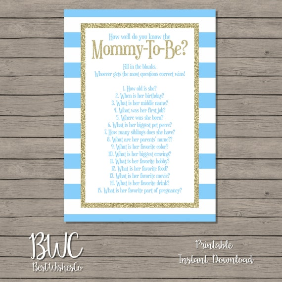 Blue And Gold How Well Do You Know Mommy-to-Be Game, Who