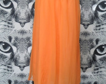60s Orange Nightie with Floral Lace Details / L