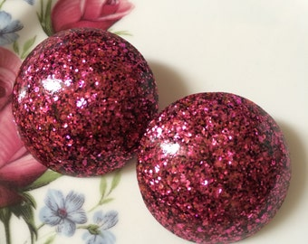 Vintage Inspired Large Confetti glitter clip on earrings - Raspberry Pink