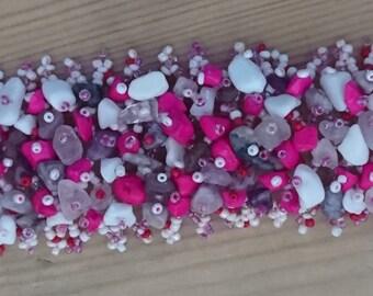Vintage pink beaded gemstone cuff bracelet