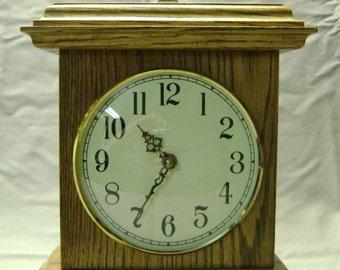 Solid Oak Mantle Clock