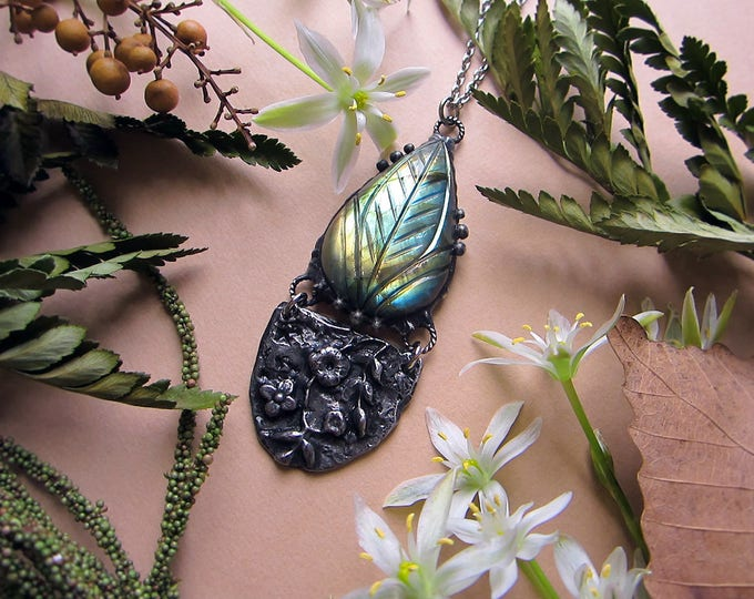 "Necklace ""Flower Fairy"" with gorgeous rare carved labradorite and rustic floral pendant. Custom length stainless steel chain."