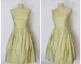 Vintage 1950s Dress | 50s Striped Dress | Green and White Striped Dress | Full Skirt Dress | Cotton Daydress