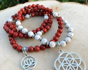 SEED OF LIFE Red Jasper & Howlite Mala Beads   108 Bead Mala Root Chakra   Sacred Geometry Yoga Meditation Beads, Prayer Beads, Mayan Rose