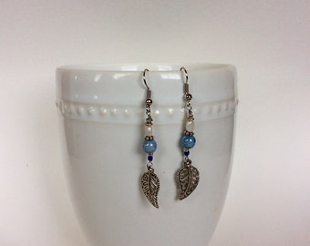 Leafy blues - drop earrings