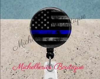 Thin Blue Line Badge Reel, Police Badge Holder, Police Badge Reel, Blue Lives Matter, Retractable Badge Holder, Personalized Badge,MB332