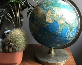 Mid Century Vibrant Blue Rand Mcnally World Portrait Globe With Brass Base