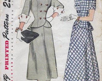 SALE 1940s Simplicity 1866 Misses' Two-Piece Dress Sewing Pattern CUT