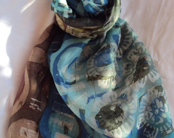 Batik painted silk scarf