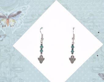 Earrings Silver Celtic Knot Irish Green Crystal Black Triangle #B04a