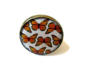 BUTTERFLY RING - orange Butterfly Ring - Butterfly Jewerly - orange - Insect Jewelry - Butterfly Lover Gift