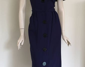 ON HOLD Lovely 50s Navy Day Dress with Reversible Cape Collar / Large
