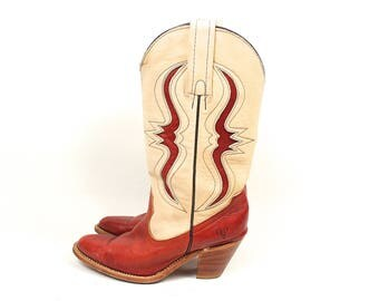 Vintage Frye Cowboy Boots - 90s Frye Two Tone Cowboy Boots - 90s Southwestern Boho Pull On Red Suede Snake Frye Cowgirl Boot Size 5.5 US W
