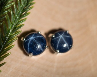 Star Sapphire Earrings in Sterling Silver or 14kt Gold