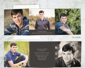graduation announcement boy graduation invitation trifold invitations high school grad cards senior - Tri Fold Graduation Invitations