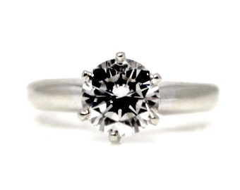 SALE! Solitaire Engagement Ring Diamond Round Brilliant 6 Prongs 1.11ct GIA High quality