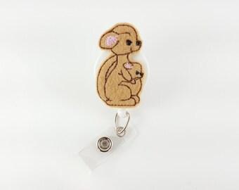Kangaroo - Felt Badge Reel - RN Badge Reels - Nurse Badge Holder - Retractable Badge - Name Badge Clip - Pediatric Badge - Veterinarian