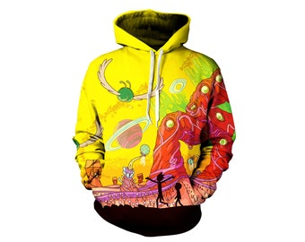 Rick and Morty Alien Pullover Hoodie - Trippy Planet Artwork Sweatshirt - Adult Swim Festival Clothing | Great Gifts