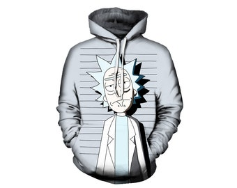 Rick and Morty Pullover Hoodie - Funny Mugshot Artwork - Best Festival Clothing - Adult Swim Sublimation Print