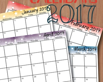 Printable 2017 Monthly Calendars