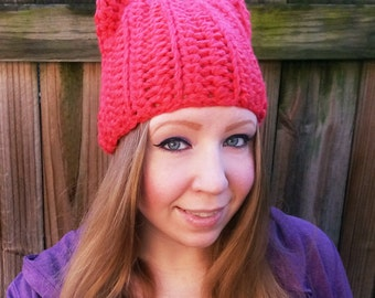 Pink Pussyhat - Crochet Pink Pussycat Hat - Pussyhat Project - Pussycat Hat - Feminist Hat - Pink Cat Ears Hat