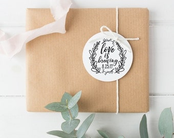 Love is Brewing - Coffee Sleeve Wedding Favor Stamp - Custom Round Rubber Stamp - 2""
