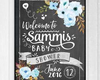 Baby Shower Sign - Blue Baby Boy Custom Chalkboard Baby Shower Sign - Personalized Printable or Print