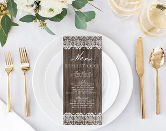 Rustic Wedding Menus - Wood and Lace Wedding Menus - Printable or Printed - Watercolor Menus for a Barn Wedding
