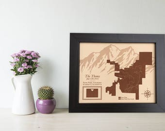 long distance love map, Graduation, leather anniversary, colorado mountains map, leather photo engraving, Rockie Mountains, Best Friend gift