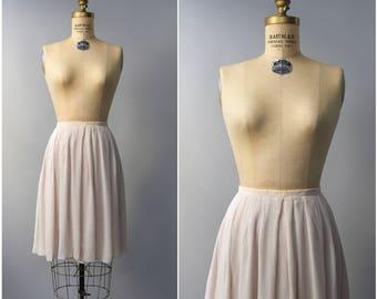 1950's blush chiffon pleated skirt • small