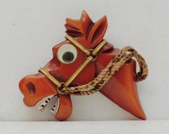 Cute Bakelite Googly Eyed Horse Head Brooch; Art Deco; Equestrian; FREE SHIPPING USA