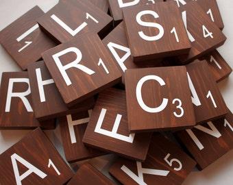 "Painted Large Scrabble Tiles - 3.5"" Large Scrabble Letters  - Scrabble Wall Art - Personalized Wood Scrabble Letters - LST"