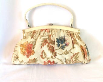 1960's Ivory Chenille Tapestry Bag Muted Colors