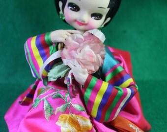 Vintage Japanese/ Korean wide eyed  pose doll