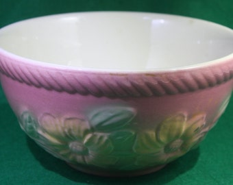 Vintage Hull  ceramic Oven Proof Sunglow  Pink Yellow Floral with rope rim board Mixing Bowl  USA