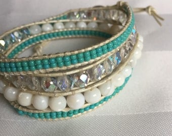 Beachy Wrap Bracelet - Teal Seed Beads, Czech Glass Crystals and Natural White Glass on Pearl Leather Quad Wrap