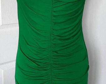 70s 80s Vintage Dress / Emerald Green Dress / Vintage Party Dress / Evening Dress / 70s fashion / 80s Fashion / Size Small