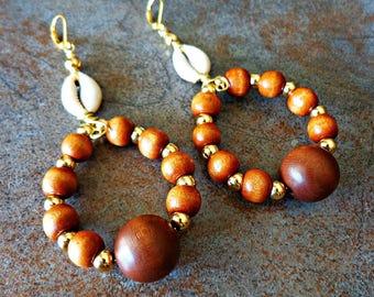 Wooden Hoop Earrings, Cowrie Shell Tribal, Beaded Earrings, Brown Beaded Earrings
