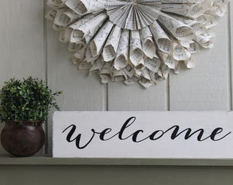 Welcome Sign, Rustic Welcome Sign,  Home Decor, Rustic Sign, Wedding Gift, Housewarming Gift, Entryway Decor, White Welcome Sign, Welcome