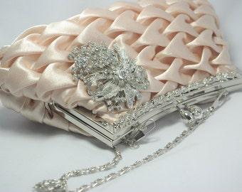 Champagne Bridal Clutch, Crystal Champagne Evening Bag, Wedding Formal Clutch, Bridal Handbag, Wedding Shoulder Bag, Champagne Bridesmaid