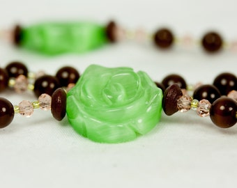 Brown Cat's Eye and Green Rose Rosary, Brown and Green Beaded Rosary, Brown Rosary, Beaded Rosaries, Handmade Rosary