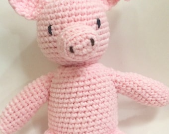 Mitchell the crocheted Pink Pig
