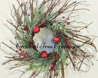 Winter Wreath, Holiday Wreath, Christmas Wreath, Christmas Wreaths, Bell Wreath, Twig Wreath, Winter Door Decor, Holiday Door Decor