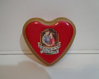 Vintage Hersheys Chocolate Red Heart Shaped Tin Box Souvenir Candy Collectible, Metal Valentine Love Folk Theme