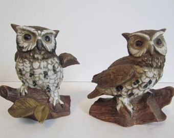 Vintage Ceramic Owl Set Woodland Creatures Homco Kitchen Bathroom Home Decor Gift Ideas Woodsy  Art