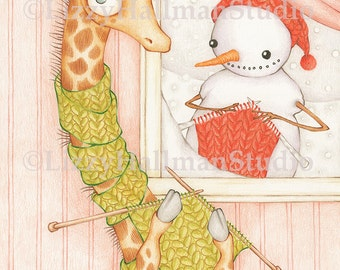 """Cozy Holiday Wishes 8x10"""" Print of original colored pencil illustration"""