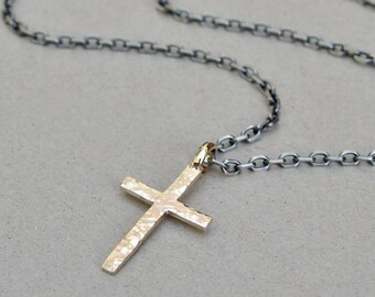 Men's silver chain and 9ct yellow gold cross - 9k gold - Oxidised silver chain - Men's jewellery - Men's chain - Trace chain - 3mm chain